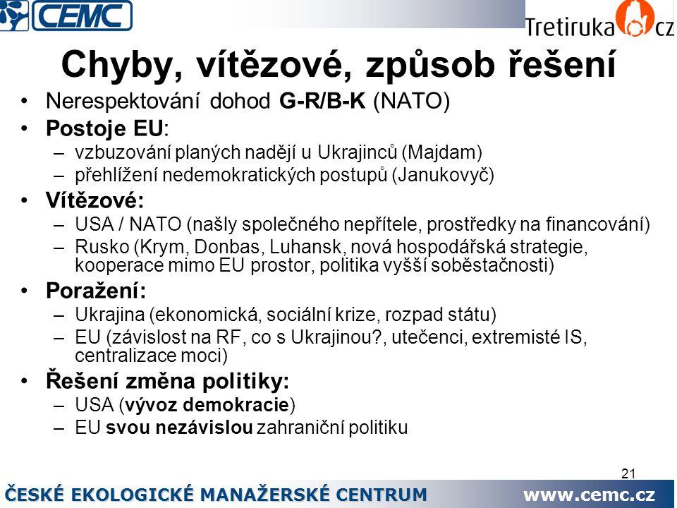 21 Chyby, vítězové, způsob řešení Nerespektování dohod G-R/B-K (NATO) Postoje EU: –vzbuzování planých nadějí u Ukrajinců (Majdam) –přehlížení nedemokr