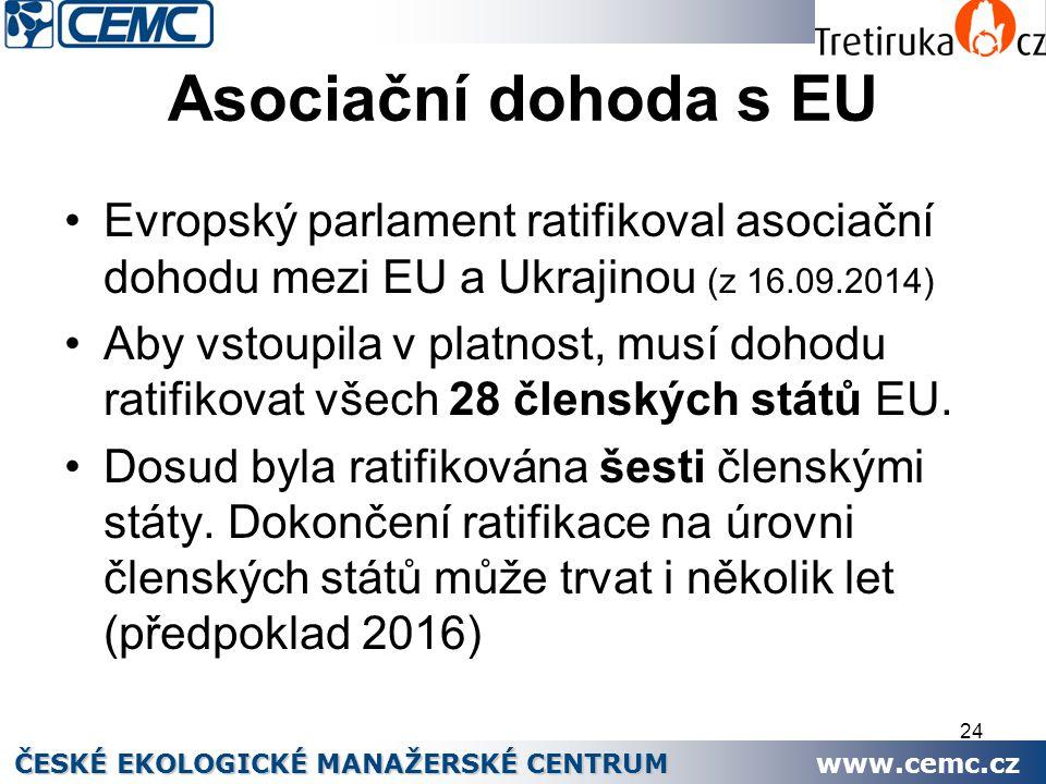 24 Asociační dohoda s EU Evropský parlament ratifikoval asociační dohodu mezi EU a Ukrajinou (z 16.09.2014) Aby vstoupila v platnost, musí dohodu rati