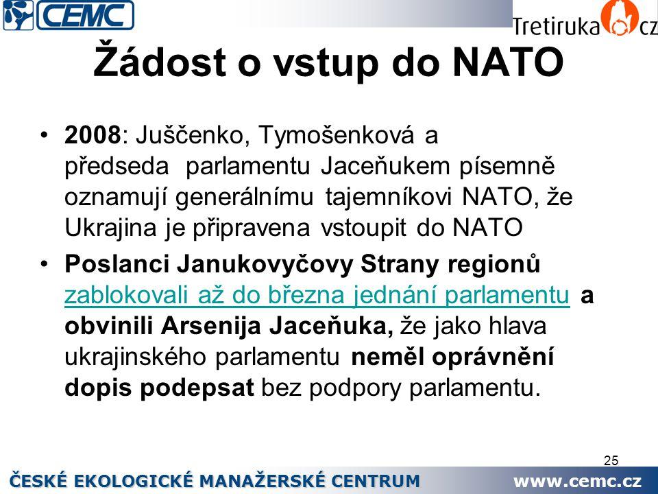 25 Žádost o vstup do NATO 2008: Juščenko, Tymošenková a předseda parlamentu Jaceňukem písemně oznamují generálnímu tajemníkovi NATO, že Ukrajina je př