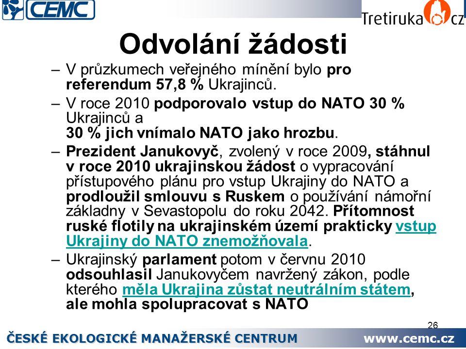 26 Odvolání žádosti –V průzkumech veřejného mínění bylo pro referendum 57,8 % Ukrajinců. –V roce 2010 podporovalo vstup do NATO 30 % Ukrajinců a 30 %