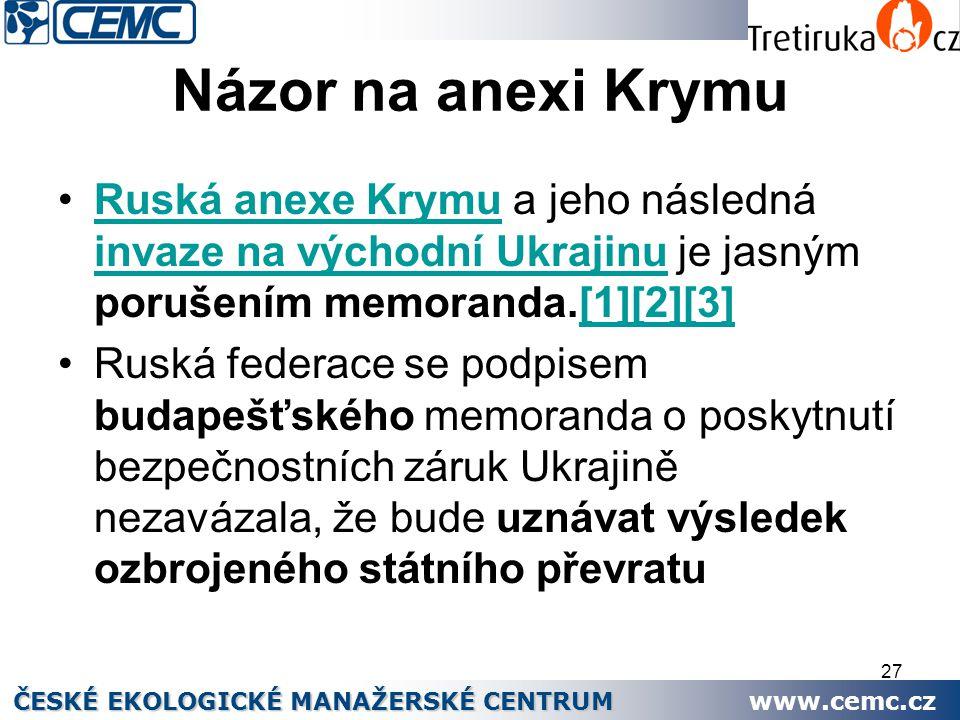 27 Názor na anexi Krymu Ruská anexe Krymu a jeho následná invaze na východní Ukrajinu je jasným porušením memoranda.[1][2][3]Ruská anexe Krymu invaze