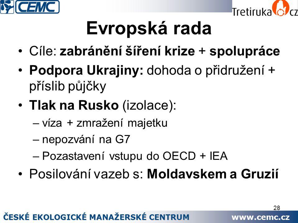 28 Evropská rada Cíle: zabránění šíření krize + spolupráce Podpora Ukrajiny: dohoda o přidružení + příslib půjčky Tlak na Rusko (izolace): –víza + zmr