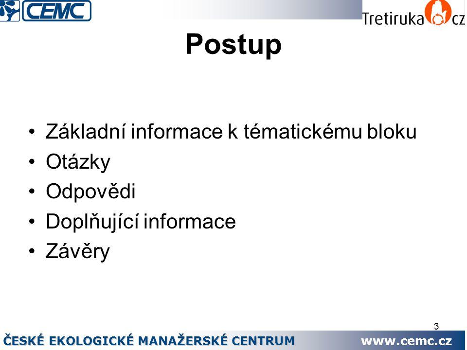 3 Postup Základní informace k tématickému bloku Otázky Odpovědi Doplňující informace Závěry ČESKÉ EKOLOGICKÉ MANAŽERSKÉ CENTRUM www.cemc.cz