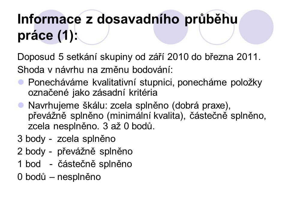 Informace z dosavadního průběhu práce (1): Doposud 5 setkání skupiny od září 2010 do března 2011. Shoda v návrhu na změnu bodování: Ponecháváme kvalit
