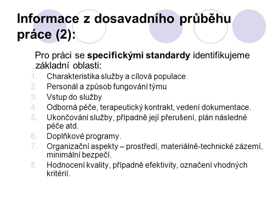 Informace z dosavadního průběhu práce (2): Pro práci se specifickými standardy identifikujeme základní oblasti: 1.Charakteristika služby a cílová popu
