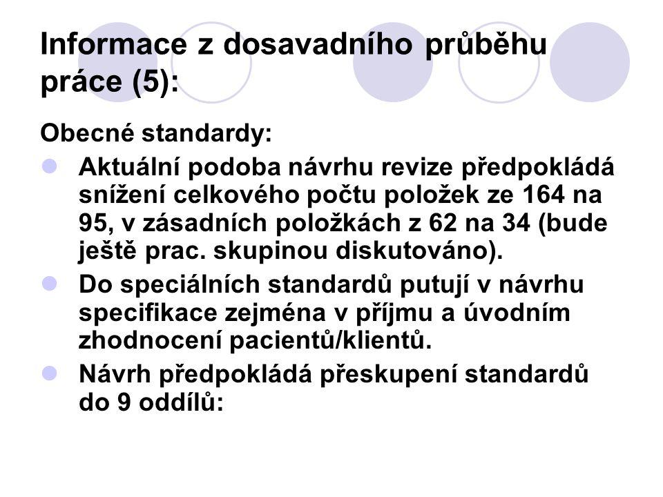Informace z dosavadního průběhu práce (5): Obecné standardy: Aktuální podoba návrhu revize předpokládá snížení celkového počtu položek ze 164 na 95, v