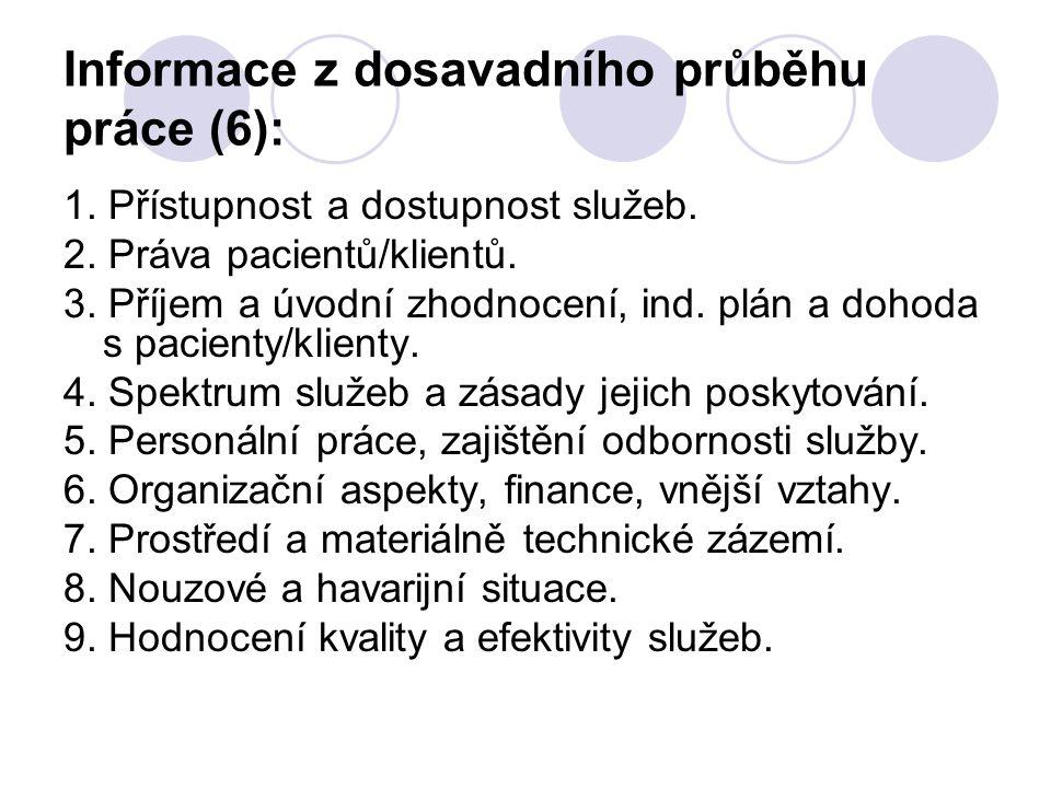 Informace z dosavadního průběhu práce (6): 1. Přístupnost a dostupnost služeb. 2. Práva pacientů/klientů. 3. Příjem a úvodní zhodnocení, ind. plán a d