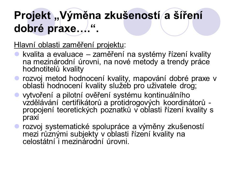 """Projekt """"Výměna zkušeností a šíření dobré praxe…."""". Hlavní oblasti zaměření projektu: kvalita a evaluace – zaměření na systémy řízení kvality na mezin"""