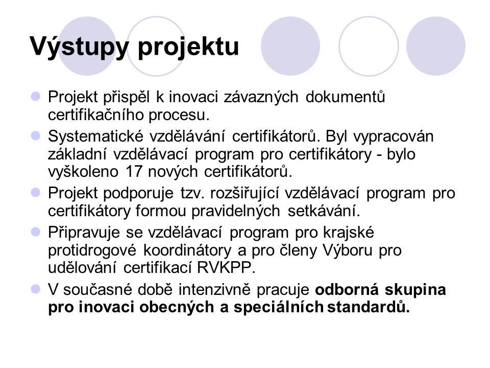 Výstupy projektu Projekt přispěl k inovaci závazných dokumentů certifikačního procesu. Systematické vzdělávání certifikátorů. Byl vypracován základní
