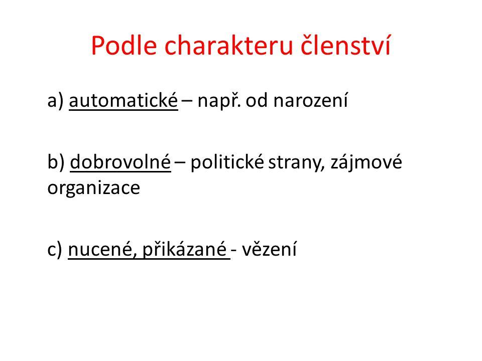 Podle charakteru členství a) automatické – např.