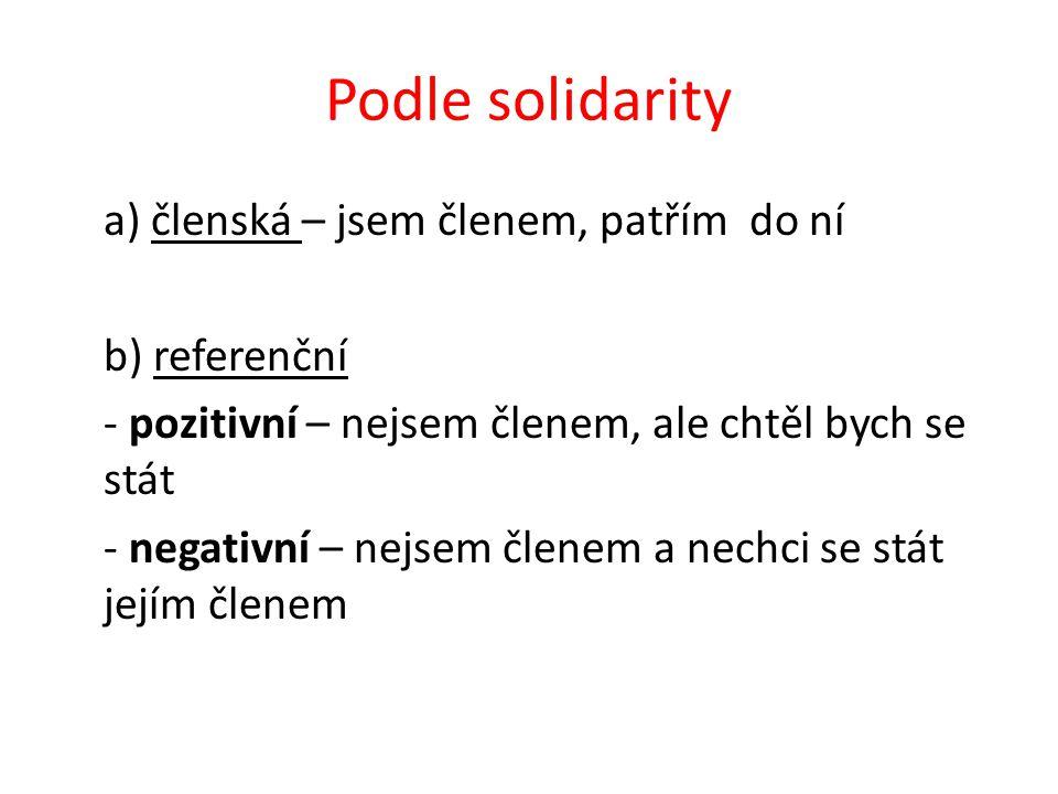 Podle solidarity a) členská – jsem členem, patřím do ní b) referenční - pozitivní – nejsem členem, ale chtěl bych se stát - negativní – nejsem členem a nechci se stát jejím členem