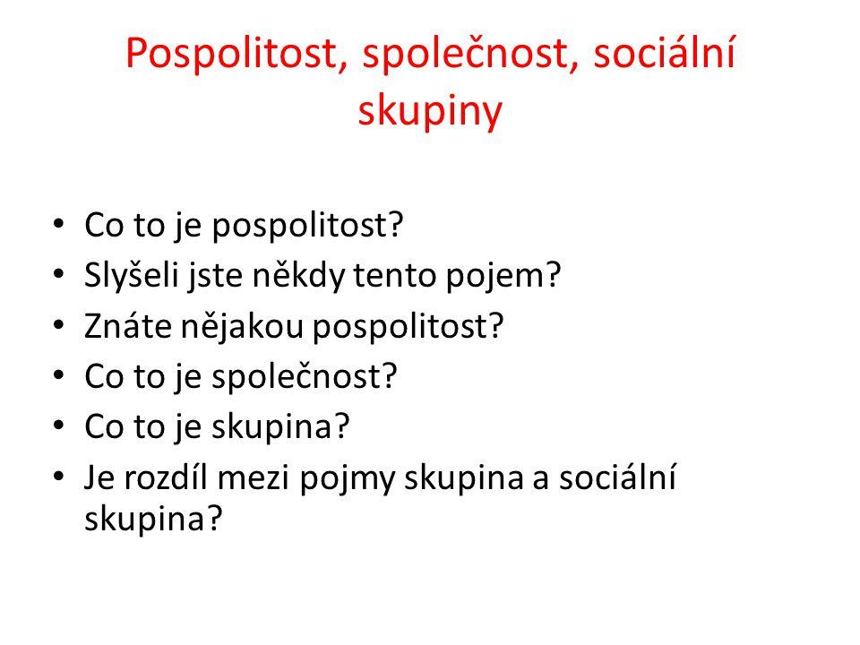 Pospolitost, společnost, sociální skupiny Co to je pospolitost.