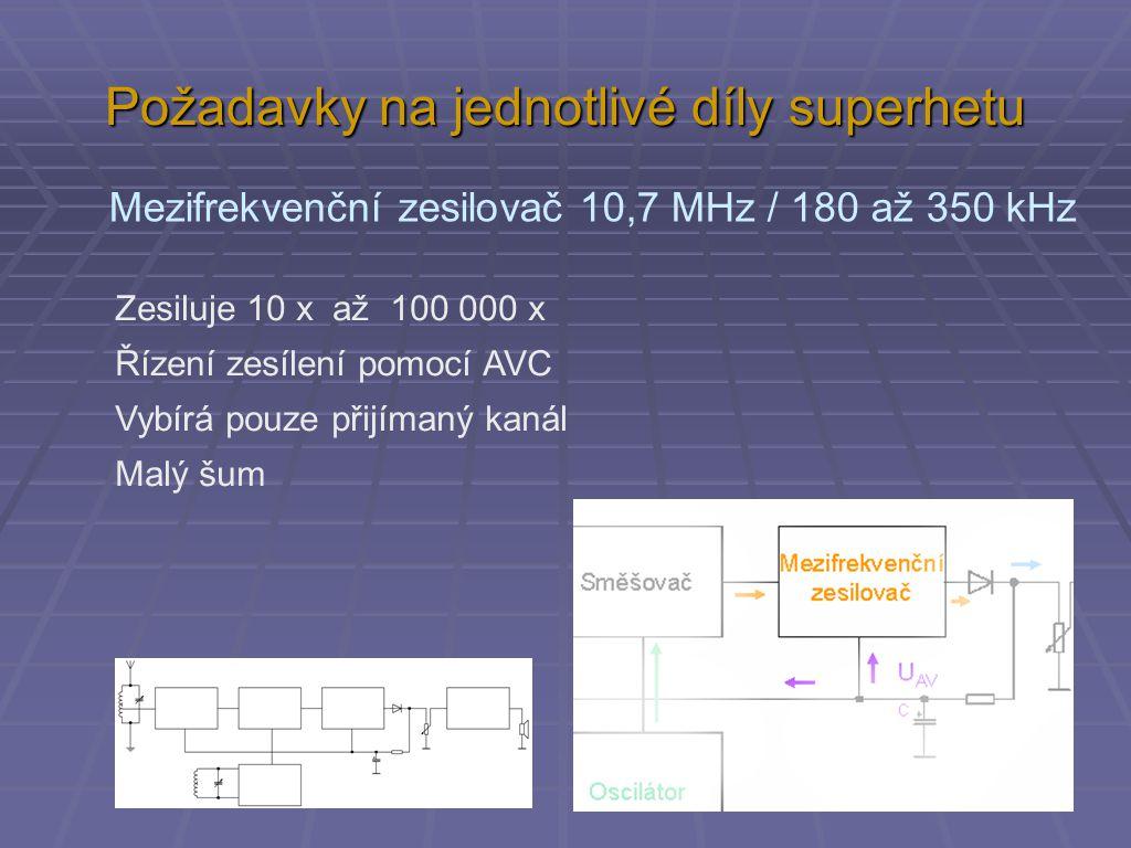 Požadavky na jednotlivé díly superhetu Mezifrekvenční zesilovač 10,7 MHz / 180 až 350 kHz Zesiluje 10 x až 100 000 x Řízení zesílení pomocí AVC Vybírá pouze přijímaný kanál Malý šum