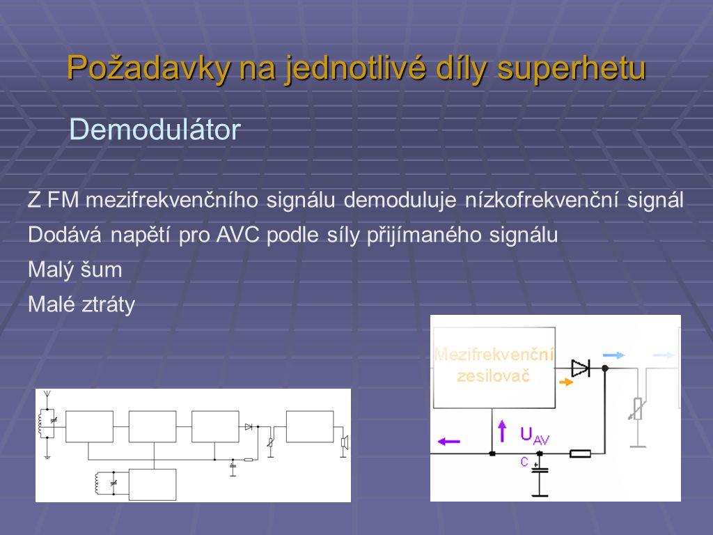 Požadavky na jednotlivé díly superhetu Demodulátor Z FM mezifrekvenčního signálu demoduluje nízkofrekvenční signál Dodává napětí pro AVC podle síly přijímaného signálu Malý šum Malé ztráty
