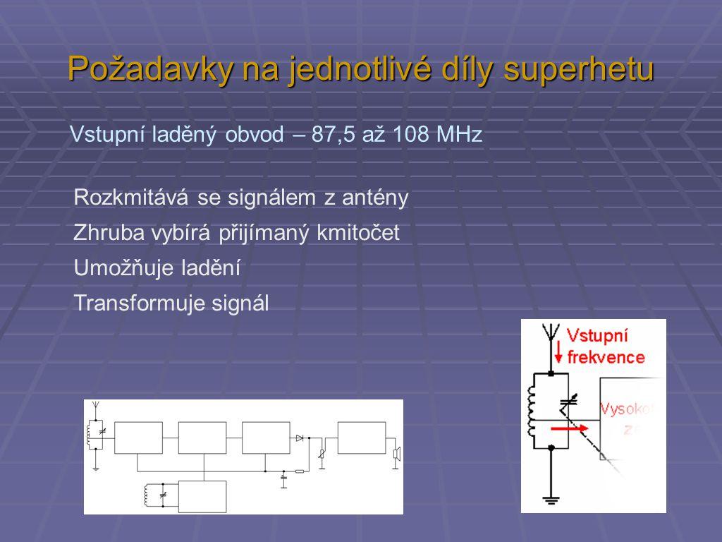 Požadavky na jednotlivé díly superhetu Vstupní laděný obvod – 87,5 až 108 MHz Rozkmitává se signálem z antény Zhruba vybírá přijímaný kmitočet Umožňuj