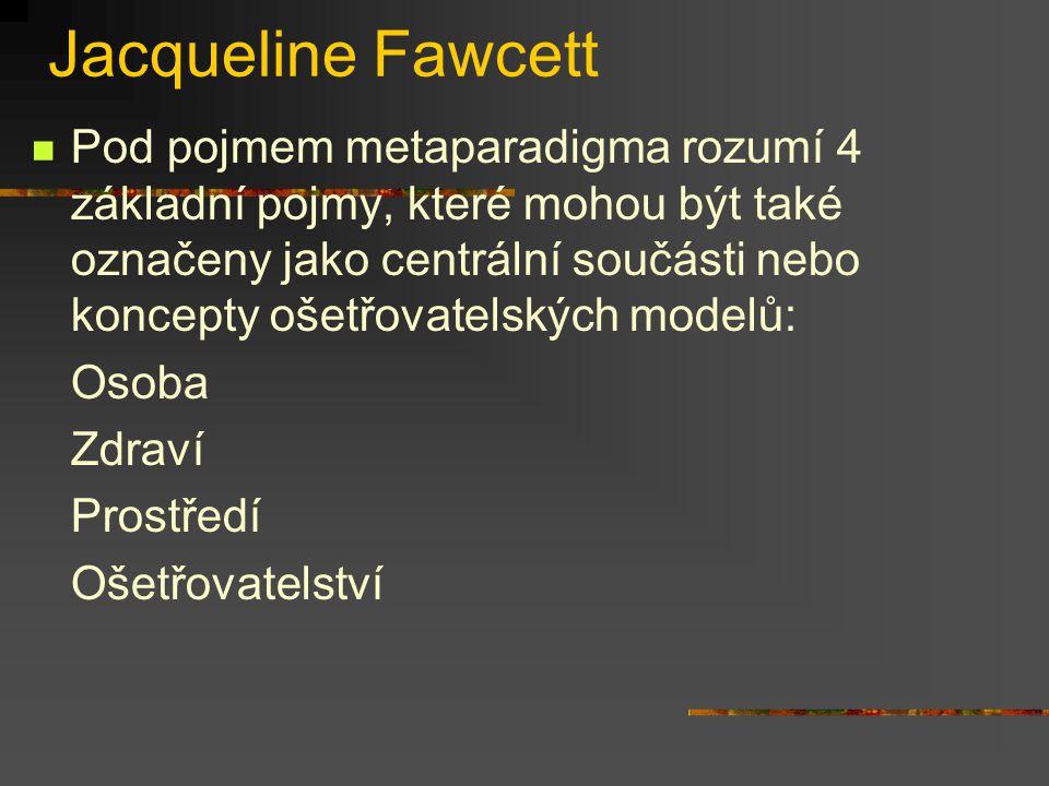 Jacqueline Fawcett Pod pojmem metaparadigma rozumí 4 základní pojmy, které mohou být také označeny jako centrální součásti nebo koncepty ošetřovatelsk