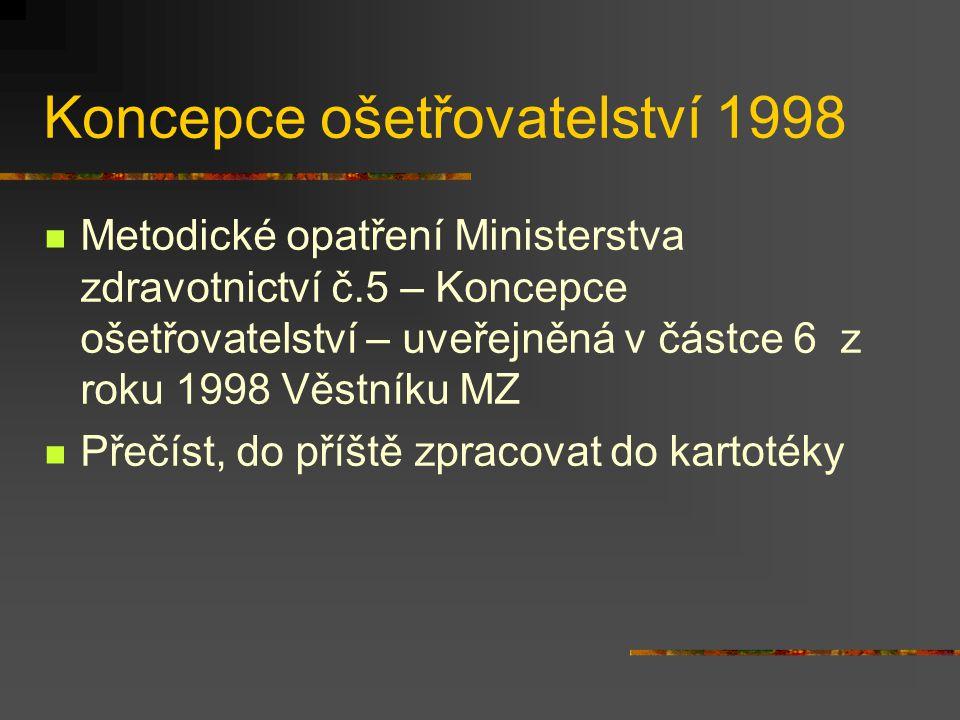 Koncepce ošetřovatelství 1998 Metodické opatření Ministerstva zdravotnictví č.5 – Koncepce ošetřovatelství – uveřejněná v částce 6 z roku 1998 Věstník