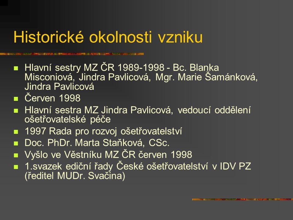 Historické okolnosti vzniku Hlavní sestry MZ ČR 1989-1998 - Bc. Blanka Misconiová, Jindra Pavlicová, Mgr. Marie Šamánková, Jindra Pavlicová Červen 199