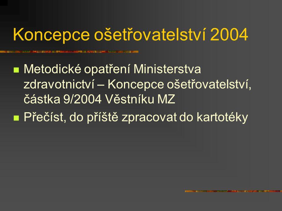 Koncepce ošetřovatelství 2004 Metodické opatření Ministerstva zdravotnictví – Koncepce ošetřovatelství, částka 9/2004 Věstníku MZ Přečíst, do příště z