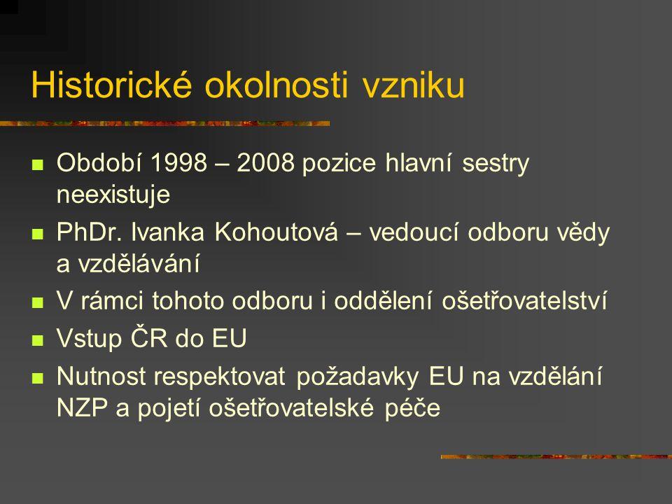 Historické okolnosti vzniku Období 1998 – 2008 pozice hlavní sestry neexistuje PhDr. Ivanka Kohoutová – vedoucí odboru vědy a vzdělávání V rámci tohot