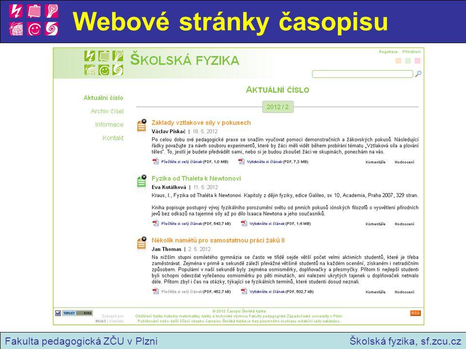 Archiv čísel Školská fyzika, sf.zcu.czFakulta pedagogická ZČU v Plzni
