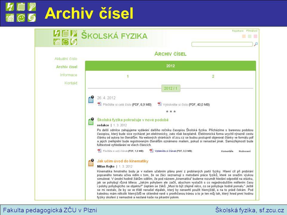 Registrace, přihlášení, komentáře Školská fyzika, sf.zcu.czFakulta pedagogická ZČU v Plzni