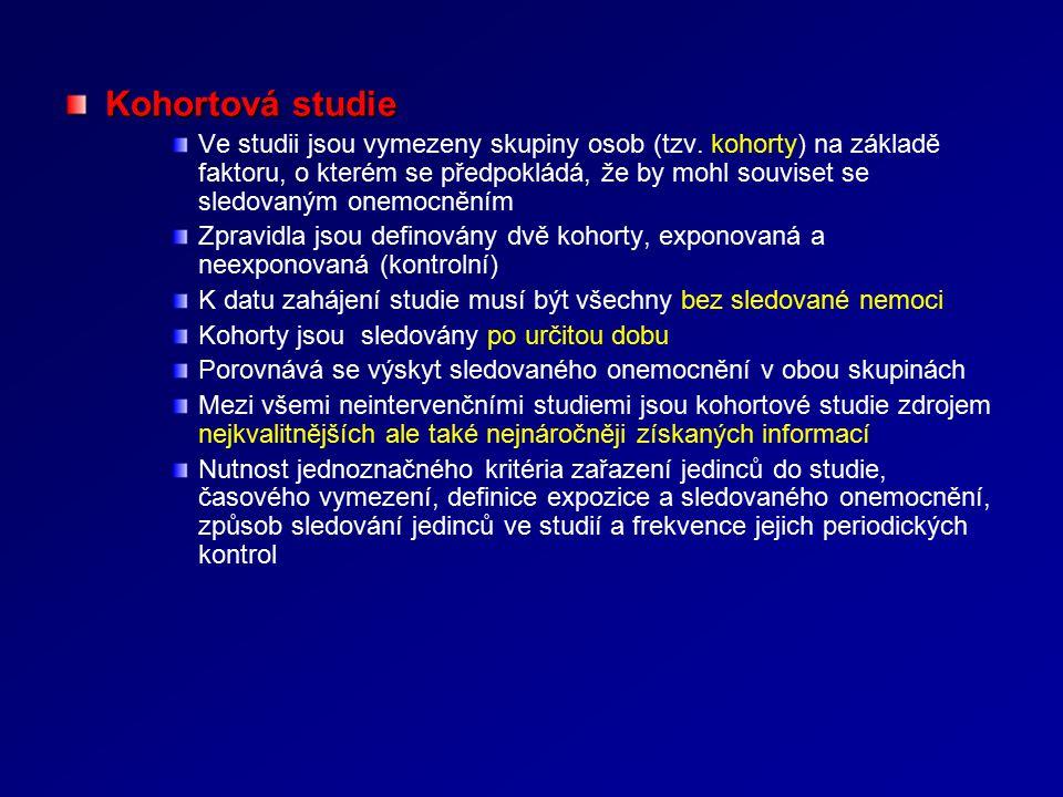 Kohortová studie Ve studii jsou vymezeny skupiny osob (tzv.