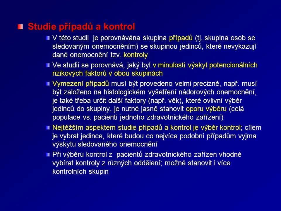 Studie případů a kontrol V této studii je porovnávána skupina případů (tj.