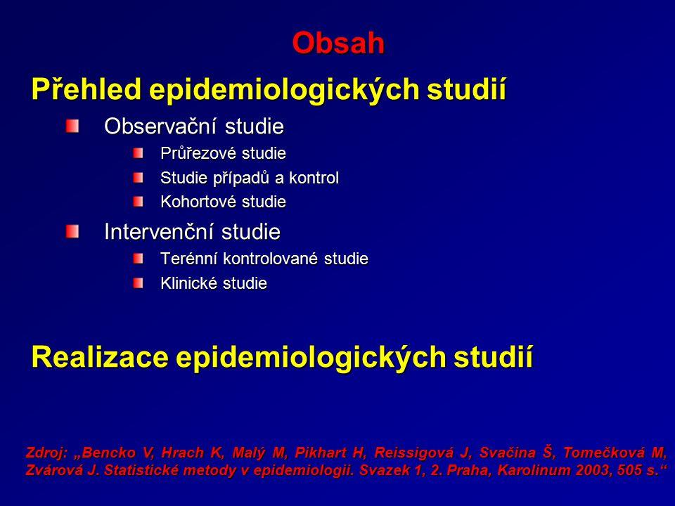 Obsah Přehled epidemiologických studií Observační studie Průřezové studie Studie případů a kontrol Kohortové studie Intervenční studie Terénní kontrol