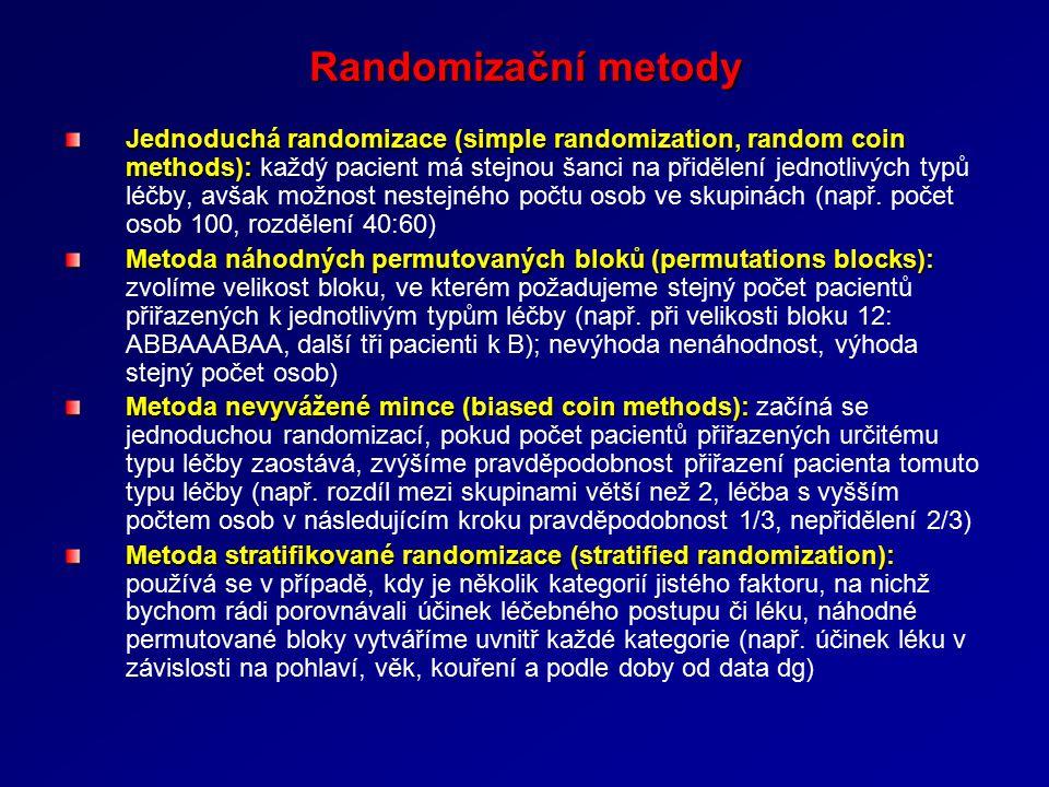 Randomizační metody Jednoduchá randomizace (simple randomization, random coin methods): Jednoduchá randomizace (simple randomization, random coin methods): každý pacient má stejnou šanci na přidělení jednotlivých typů léčby, avšak možnost nestejného počtu osob ve skupinách (např.
