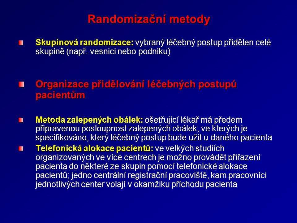 Randomizační metody Skupinová randomizace: Skupinová randomizace: vybraný léčebný postup přidělen celé skupině (např.