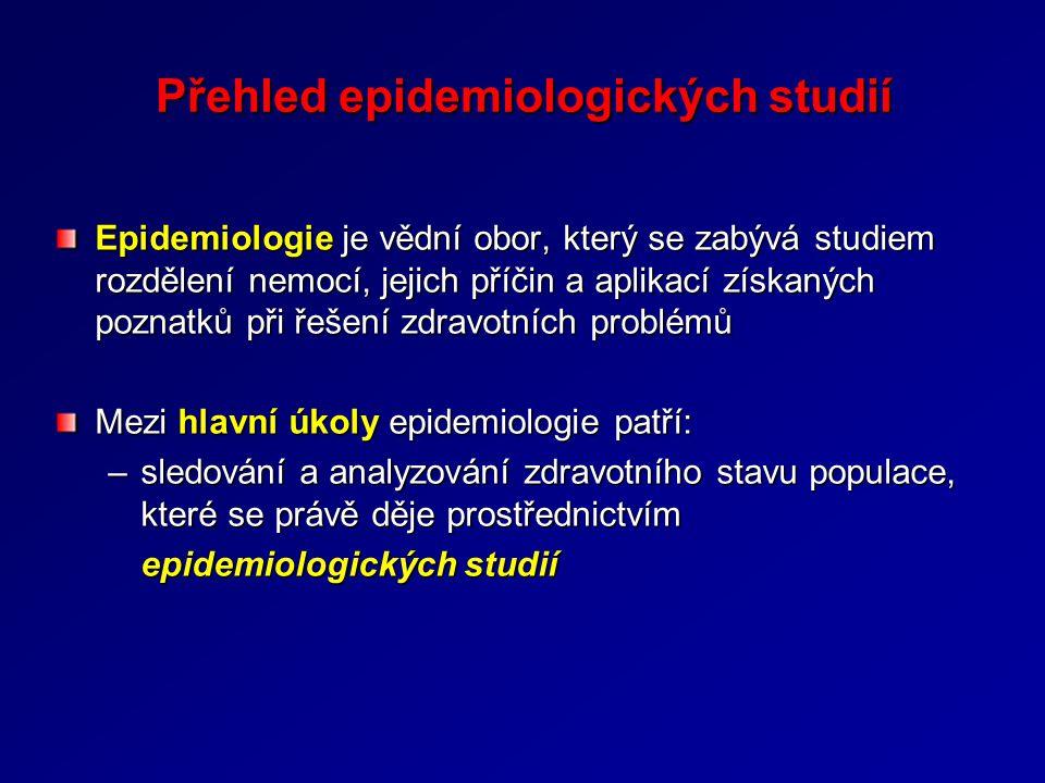 Epidemiologie je vědní obor, který se zabývá studiem rozdělení nemocí, jejich příčin a aplikací získaných poznatků při řešení zdravotních problémů Mezi hlavní úkoly epidemiologie patří: –sledování a analyzování zdravotního stavu populace, které se právě děje prostřednictvím epidemiologických studií Přehled epidemiologických studií