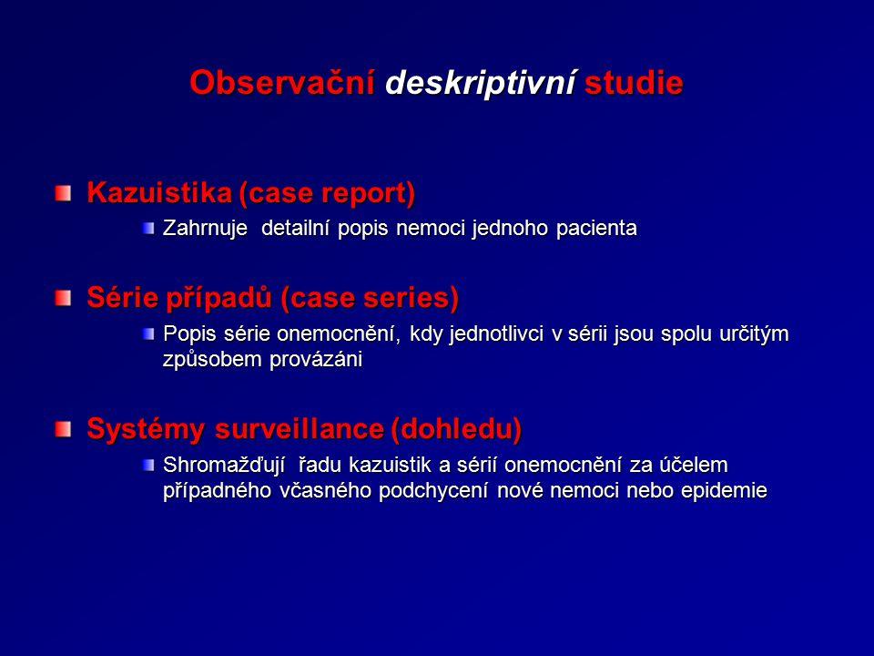 Observační deskriptivní studie Kazuistika (case report) Zahrnuje detailní popis nemoci jednoho pacienta Série případů (case series) Popis série onemoc