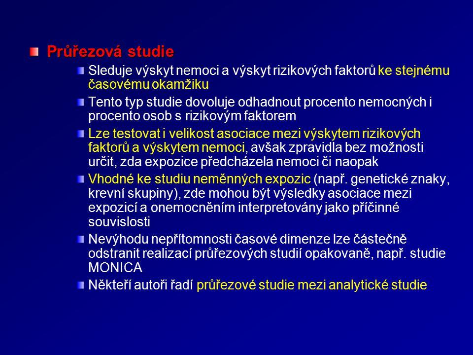 Observační analytická studie Kohortová studie (cohort study)