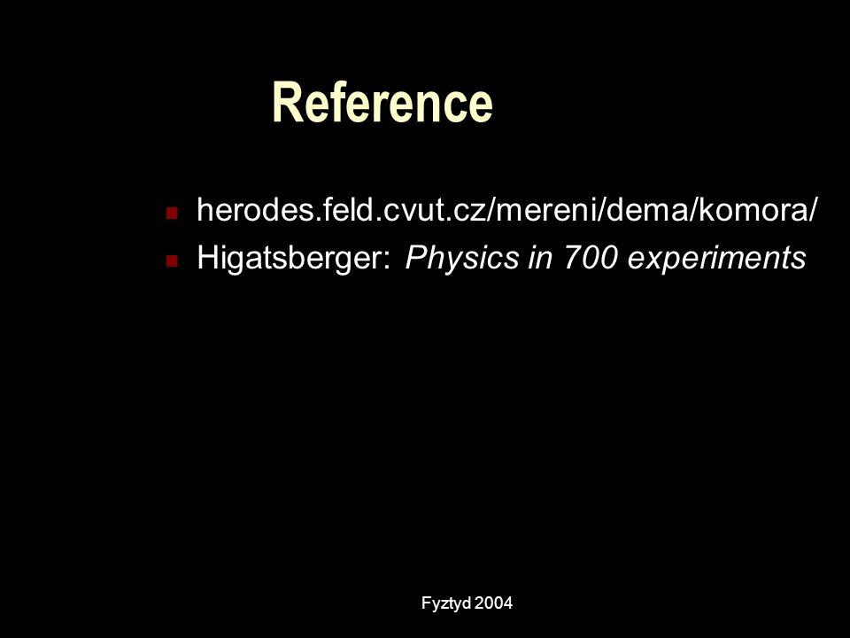 Fyztyd 2004 Reference herodes.feld.cvut.cz/mereni/dema/komora/ Higatsberger: Physics in 700 experiments