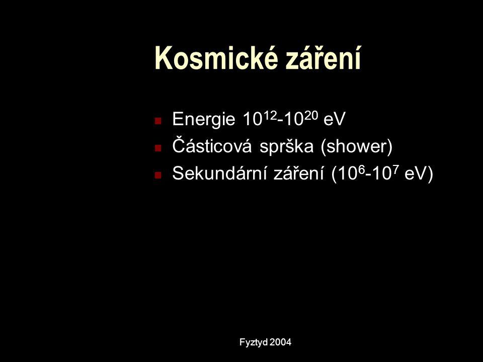 Kosmické záření Energie 10 12 -10 20 eV Částicová sprška (shower) Sekundární záření (10 6 -10 7 eV)
