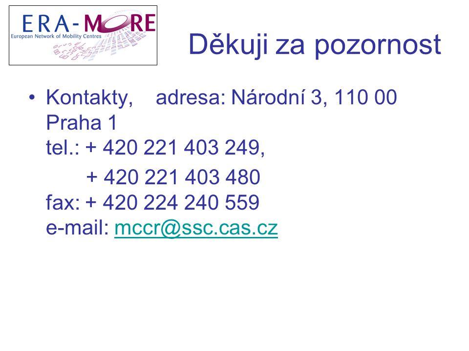 Děkuji za pozornost Kontakty, adresa: Národní 3, 110 00 Praha 1 tel.: + 420 221 403 249, + 420 221 403 480 fax: + 420 224 240 559 e-mail: mccr@ssc.cas.czmccr@ssc.cas.cz