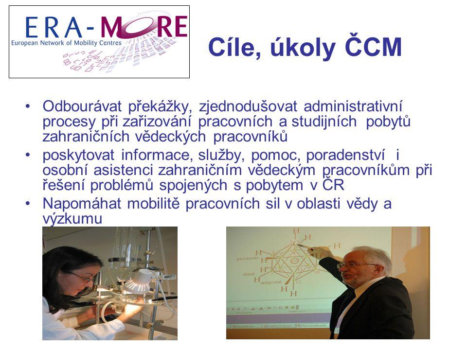 Cíle, úkoly ČCM Odbourávat překážky, zjednodušovat administrativní procesy při zařizování pracovních a studijních pobytů zahraničních vědeckých pracovníků poskytovat informace, služby, pomoc, poradenství i osobní asistenci zahraničním vědeckým pracovníkům při řešení problémů spojených s pobytem v ČR Napomáhat mobilitě pracovních sil v oblasti vědy a výzkumu