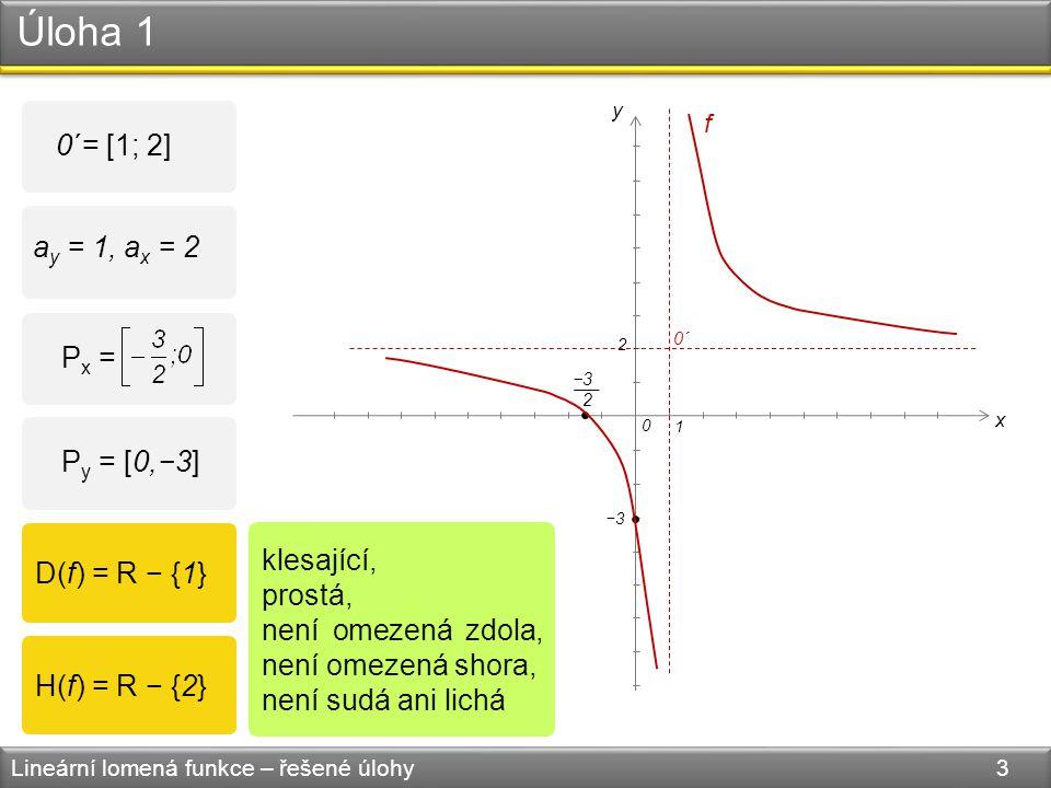 Úloha 1 Lineární lomená funkce – řešené úlohy 3 0 x y 2 1 f 0´= [1; 2] a y = 1, a x = 2 P y = [0,−3] P x = −3 2 D(f) = R − {1} H(f) = R − {2} klesající, prostá, není omezená zdola, není omezená shora, není sudá ani lichá 0´