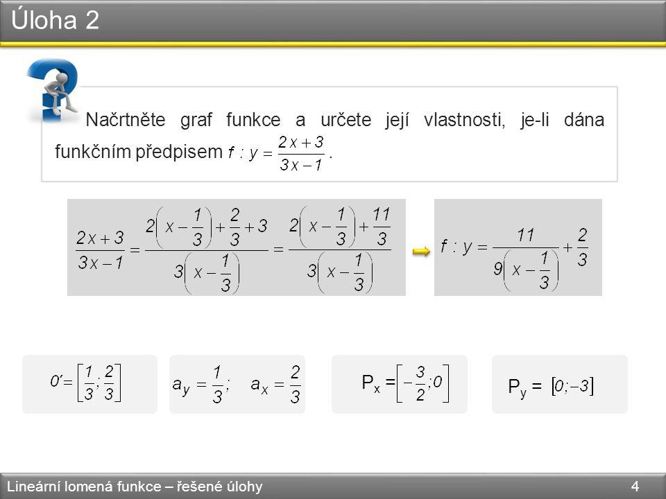 Úloha 2 Lineární lomená funkce – řešené úlohy 5 0 x y 2 1 f P y = [0,−3] P x = −3 2 klesající, prostá, není omezená zdola, není omezená shora, není sudá ani lichá D(f) = R − H(f) = R − 1 3 2 3 0´