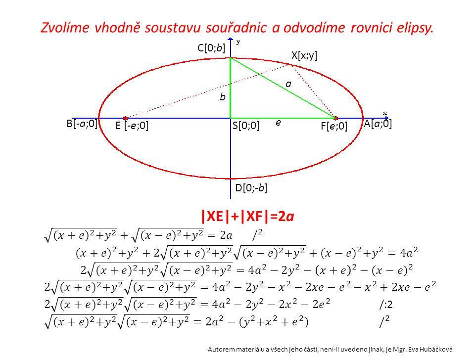 a b e S B A C D EF X a Co se stane, když bod X umístíme do bodu A? Podle definice elipsy platí, |EX|+|FX|= 2a X=A tedy |EA|+|FA|= 2a |ES|+|SA|+(|SA|-|