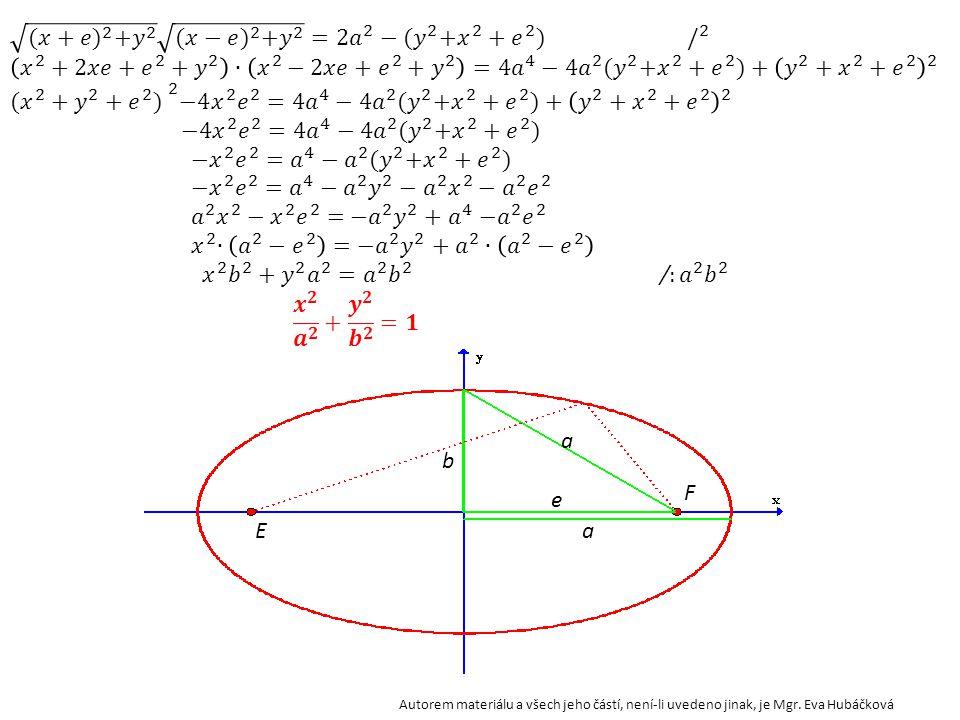 Zvolíme vhodně soustavu souřadnic a odvodíme rovnici elipsy. b a e A[a;0]B[-a;0] C[0;b] D[0;-b] F[e;0] E [-e;0] S[0;0] X[x;y] Autorem materiálu a všec