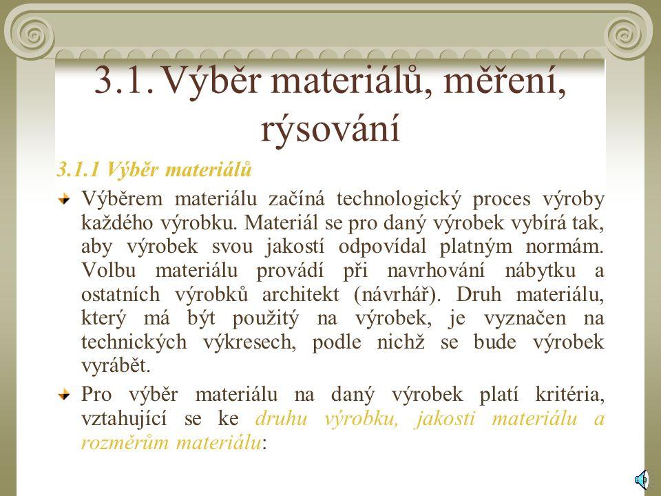 3.1.Výběr materiálů, měření, rýsování 3.1.1 Výběr materiálů Výběrem materiálu začíná technologický proces výroby každého výrobku.