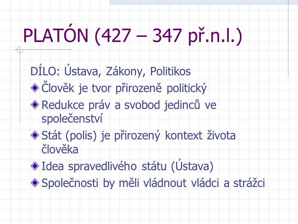 PLATÓN (427 – 347 př.n.l.) DÍLO: Ústava, Zákony, Politikos Člověk je tvor přirozeně politický Redukce práv a svobod jedinců ve společenství Stát (poli