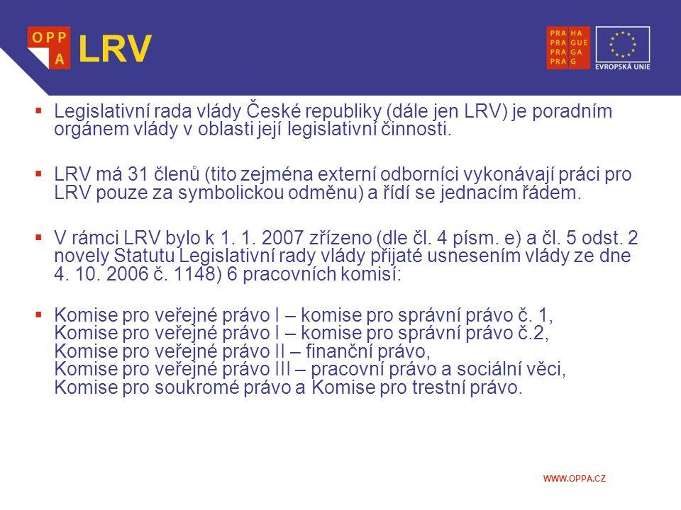 WWW.OPPA.CZ LRV  Legislativní rada vlády České republiky (dále jen LRV) je poradním orgánem vlády v oblasti její legislativní činnosti.