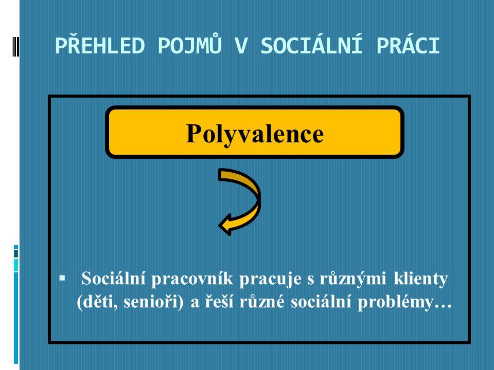 PŘEHLED POJMŮ V SOCIÁLNÍ PRÁCI  Sociální pracovník pracuje s různými klienty (děti, senioři) a řeší různé sociální problémy… Polyvalence