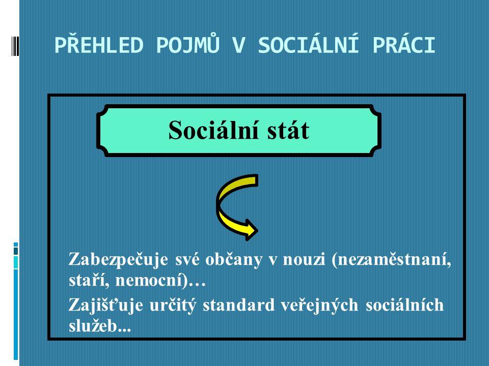PŘEHLED POJMŮ V SOCIÁLNÍ PRÁCI Zabezpečuje své občany v nouzi (nezaměstnaní, staří, nemocní)… Zajišťuje určitý standard veřejných sociálních služeb...
