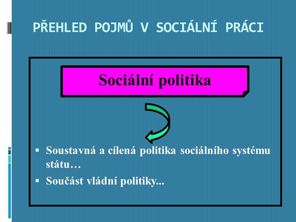 PŘEHLED POJMŮ V SOCIÁLNÍ PRÁCI  Soustavná a cílená politika sociálního systému státu…  Součást vládní politiky...