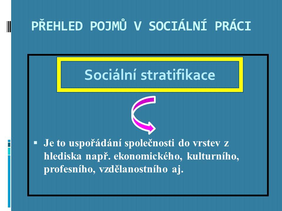 PŘEHLED POJMŮ V SOCIÁLNÍ PRÁCI  Je to uspořádání společnosti do vrstev z hlediska např.