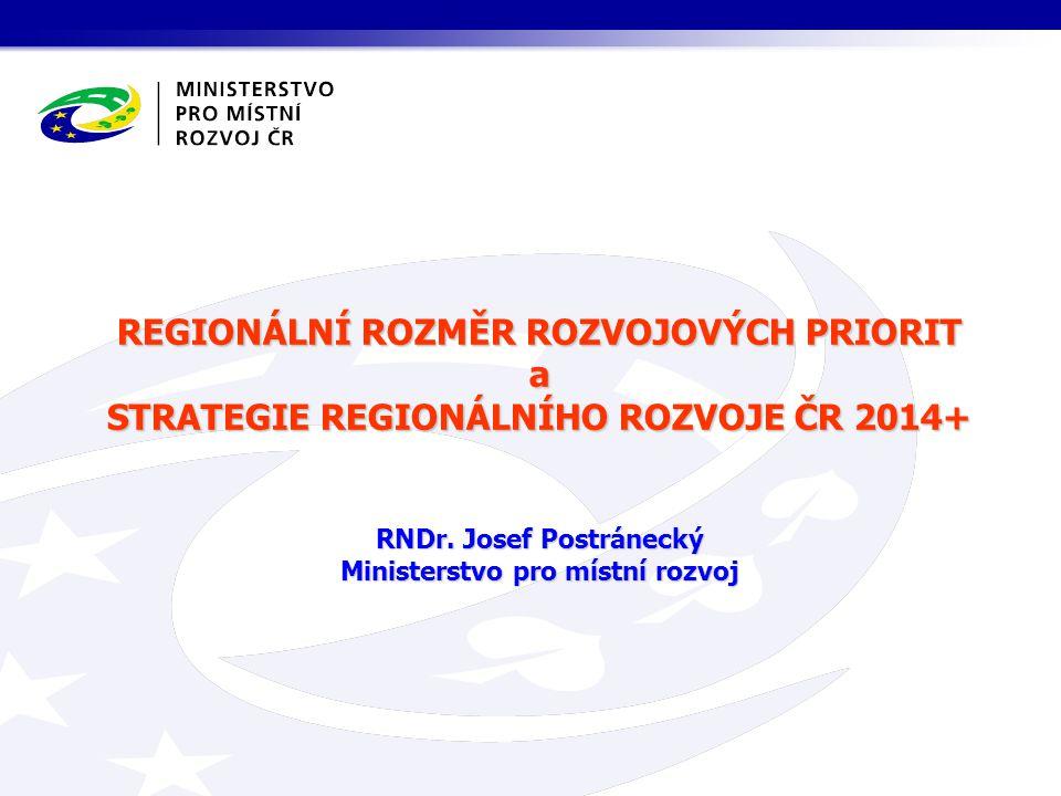 REGIONÁLNÍ ROZMĚR ROZVOJOVÝCH PRIORIT a STRATEGIE REGIONÁLNÍHO ROZVOJE ČR 2014+ RNDr.
